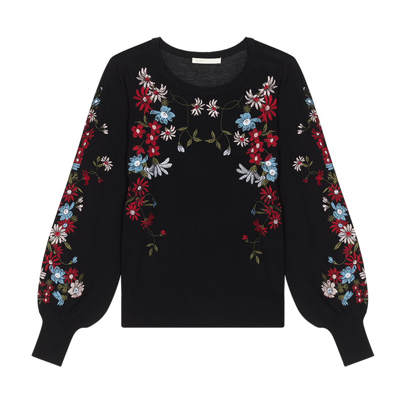 Jumper with flowers embroideries - Malla - MAJE